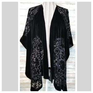 Black velvet floral burnt out Spring ruana shawl